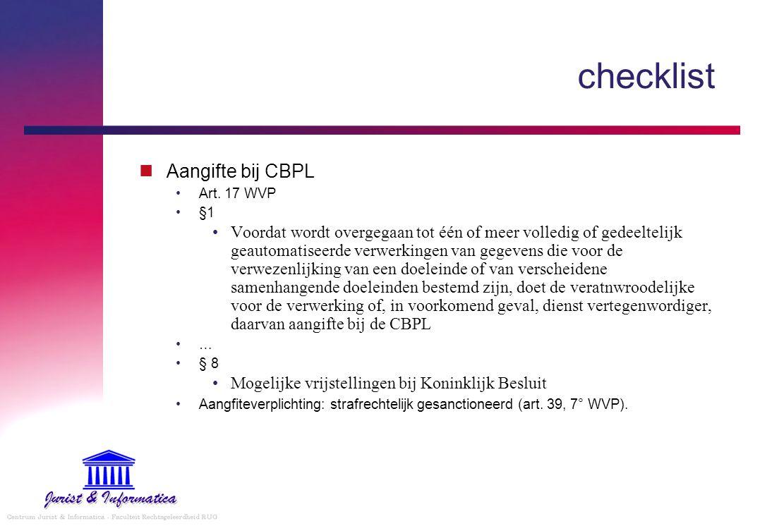 checklist Aangifte bij CBPL Art.