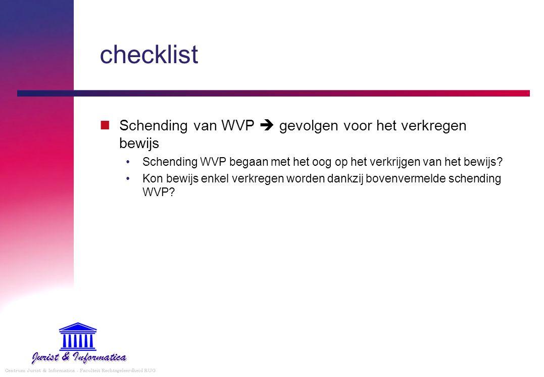 checklist Schending van WVP  gevolgen voor het verkregen bewijs Schending WVP begaan met het oog op het verkrijgen van het bewijs.