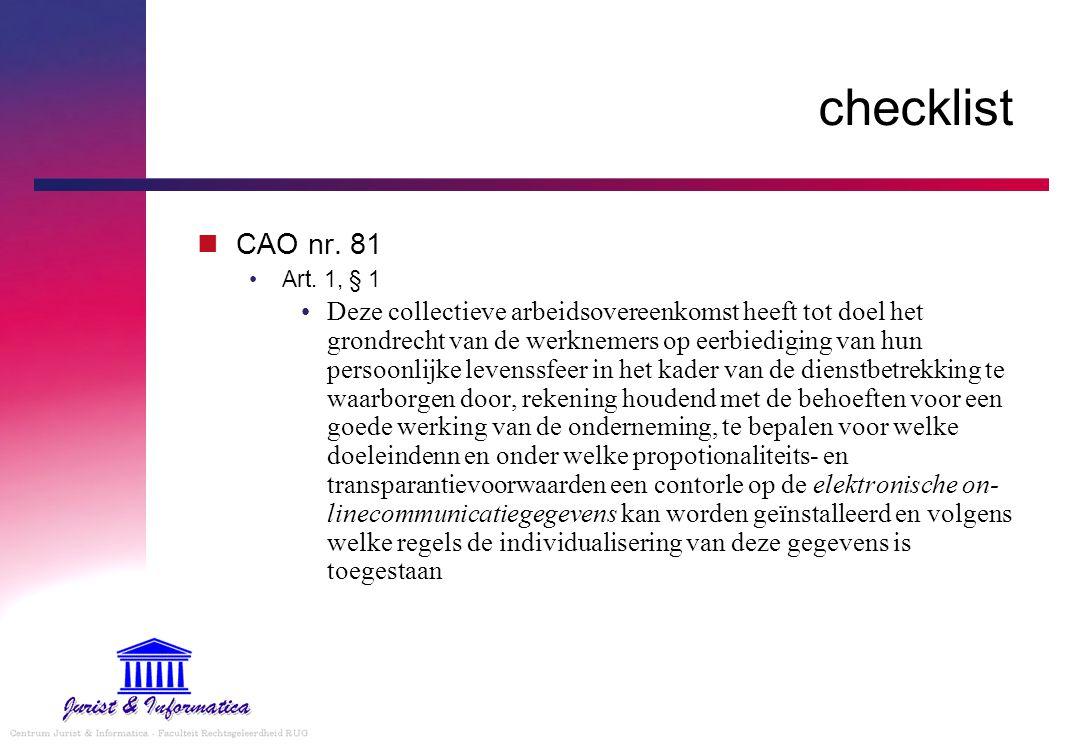 checklist CAO nr. 81 Art.