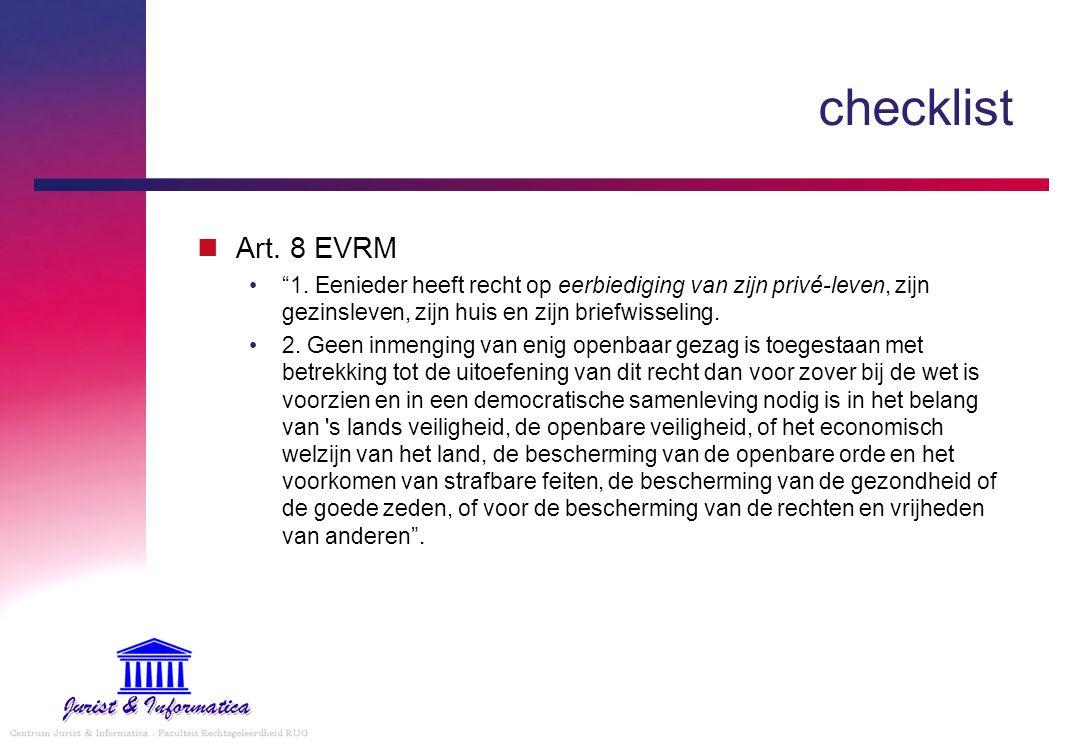 checklist Privé-communicatie en zakelijke communicatie Onderscheid in rechtmatige privacy-verwachting.