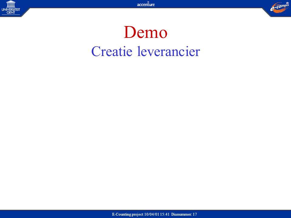 E-Counting project 10/04/01 15:41 Dianummer: 17 Demo Creatie leverancier