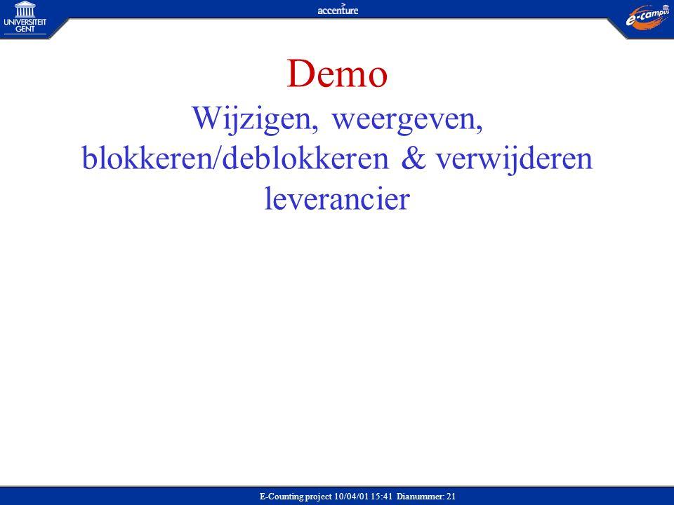 E-Counting project 10/04/01 15:41 Dianummer: 21 Demo Wijzigen, weergeven, blokkeren/deblokkeren & verwijderen leverancier