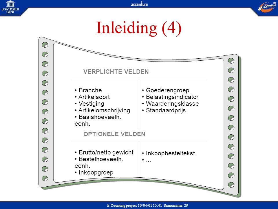 E-Counting project 10/04/01 15:41 Dianummer: 29 Inleiding (4) VERPLICHTE VELDEN Branche Artikelsoort Vestiging Artikelomschrijving Basishoeveelh. eenh