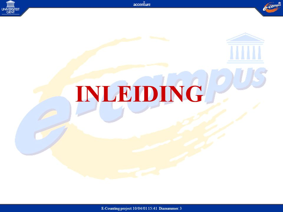 E-Counting project 10/04/01 15:41 Dianummer: 3 INLEIDING