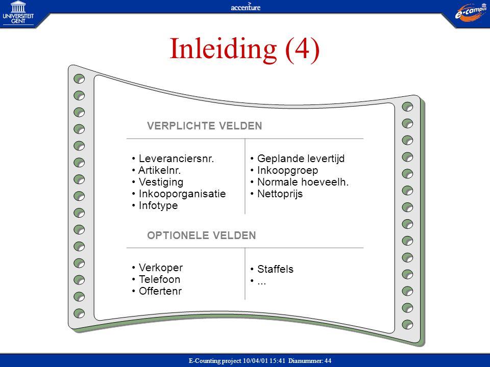 E-Counting project 10/04/01 15:41 Dianummer: 44 Inleiding (4) VERPLICHTE VELDEN Leveranciersnr. Artikelnr. Vestiging Inkooporganisatie Infotype Geplan