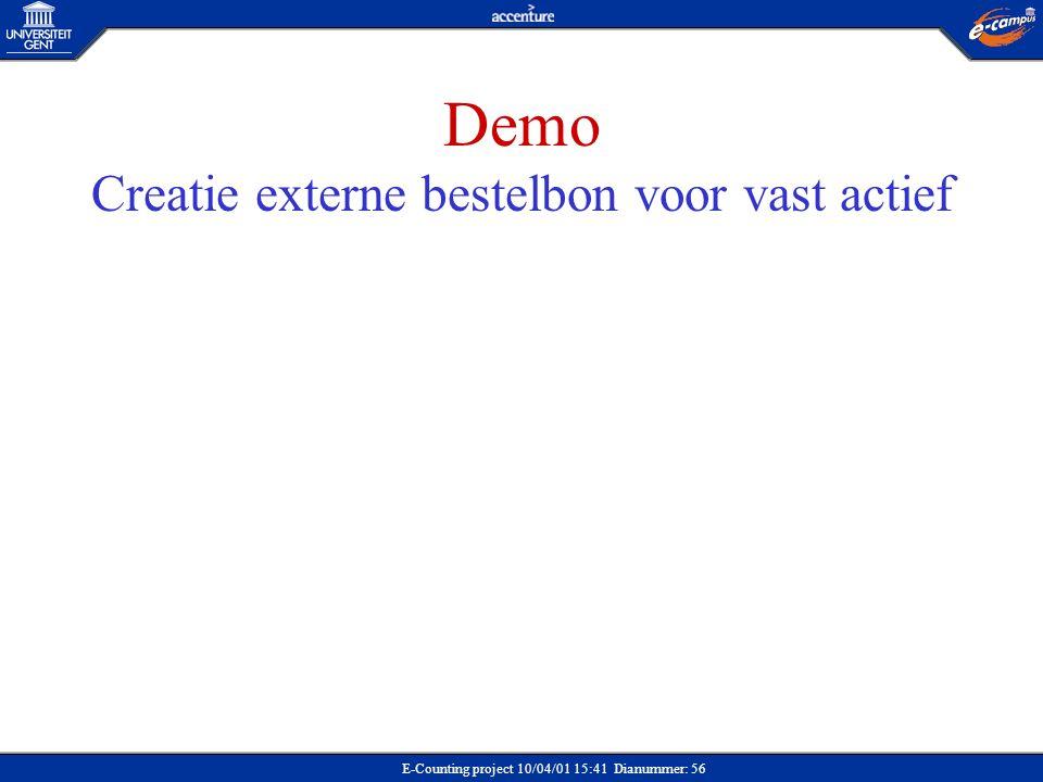 E-Counting project 10/04/01 15:41 Dianummer: 56 Demo Creatie externe bestelbon voor vast actief