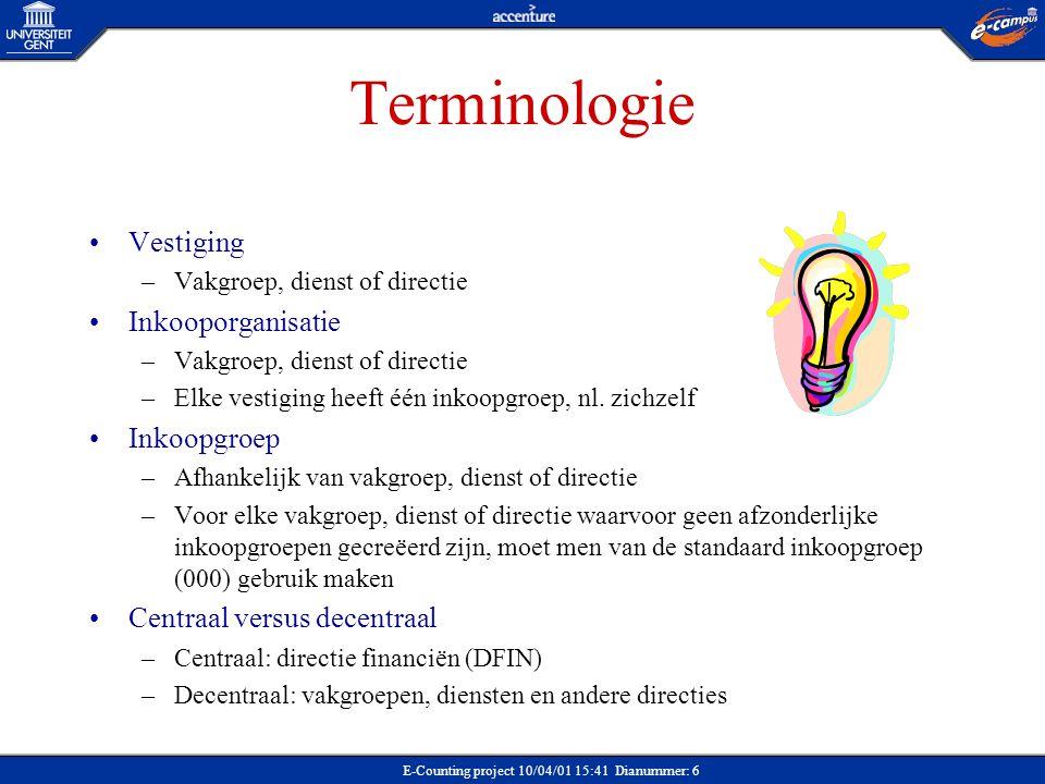 E-Counting project 10/04/01 15:41 Dianummer: 6 Terminologie Vestiging –Vakgroep, dienst of directie Inkooporganisatie –Vakgroep, dienst of directie –E