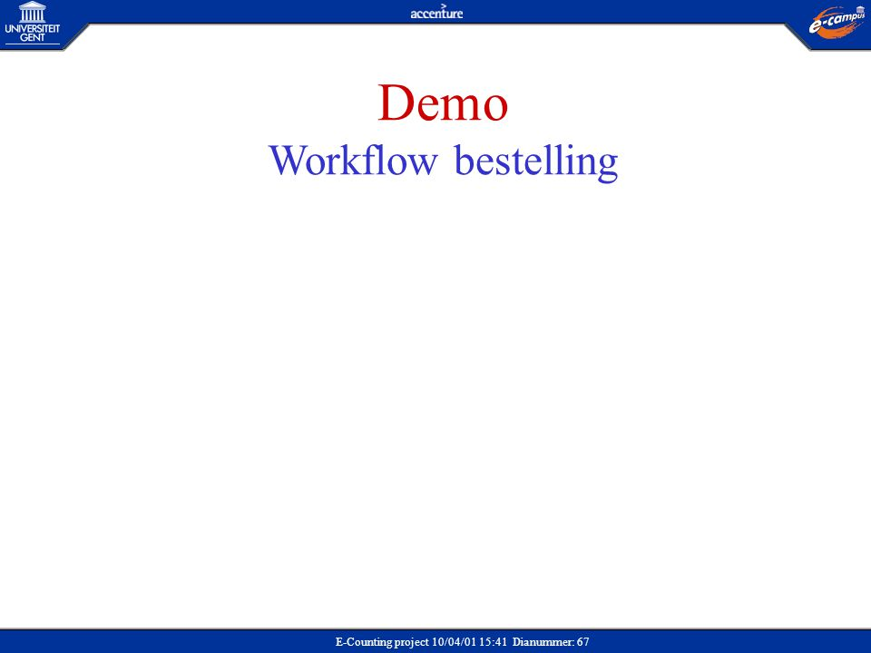 E-Counting project 10/04/01 15:41 Dianummer: 67 Demo Workflow bestelling