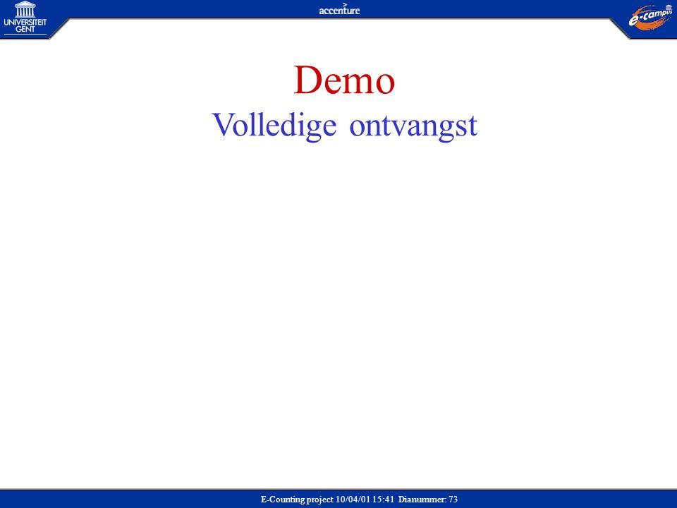 E-Counting project 10/04/01 15:41 Dianummer: 73 Demo Volledige ontvangst