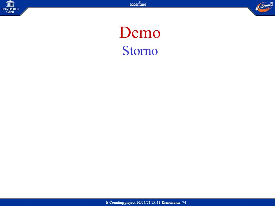 E-Counting project 10/04/01 15:41 Dianummer: 74 Demo Storno