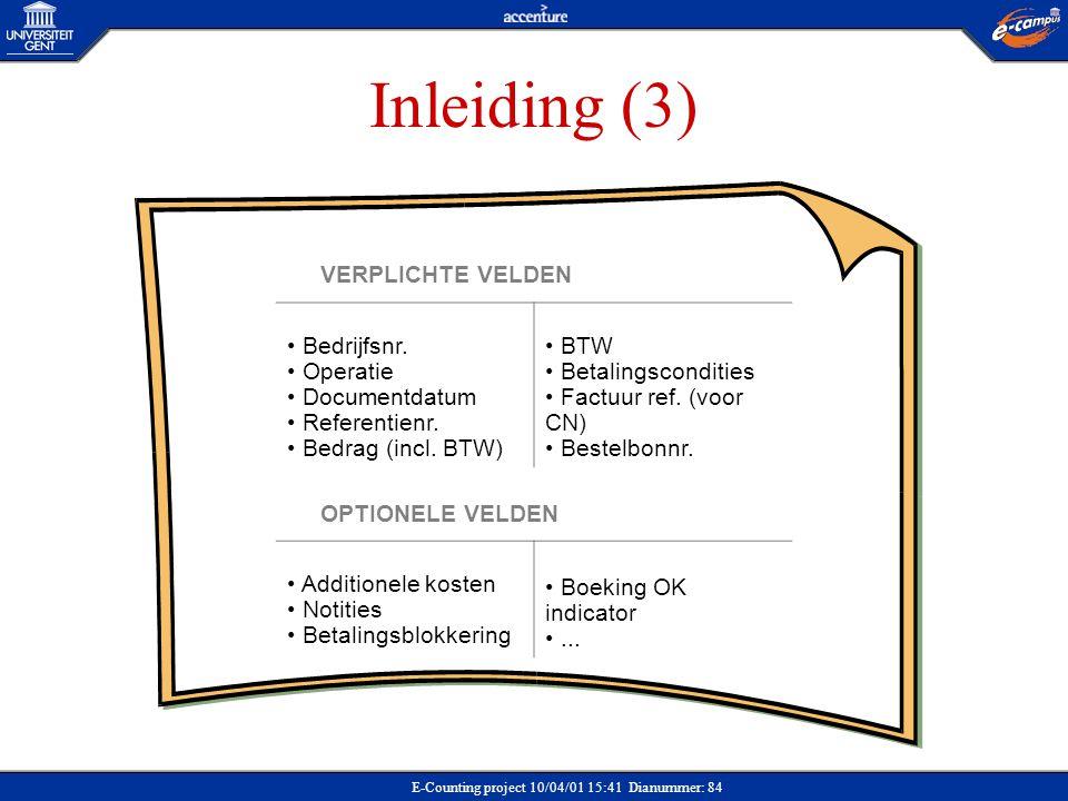 E-Counting project 10/04/01 15:41 Dianummer: 84 Inleiding (3) VERPLICHTE VELDEN Bedrijfsnr. Operatie Documentdatum Referentienr. Bedrag (incl. BTW) BT
