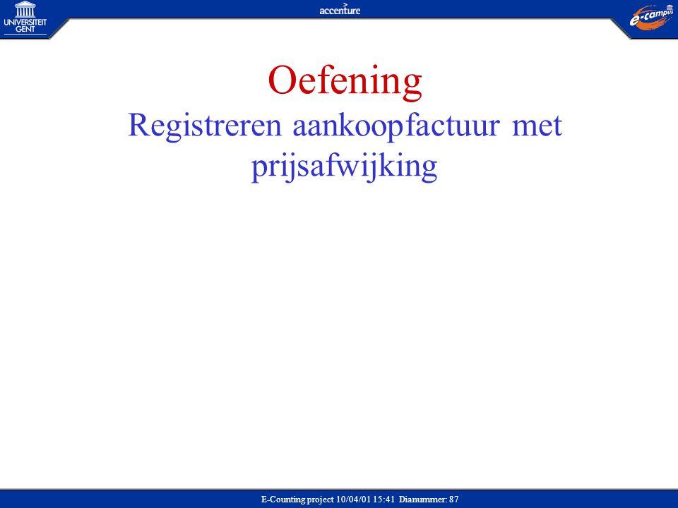 E-Counting project 10/04/01 15:41 Dianummer: 87 Oefening Registreren aankoopfactuur met prijsafwijking