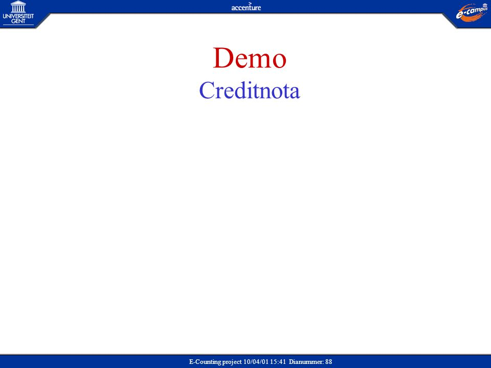 E-Counting project 10/04/01 15:41 Dianummer: 88 Demo Creditnota