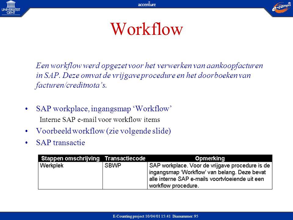 E-Counting project 10/04/01 15:41 Dianummer: 95 Workflow Een workflow werd opgezet voor het verwerken van aankoopfacturen in SAP. Deze omvat de vrijga