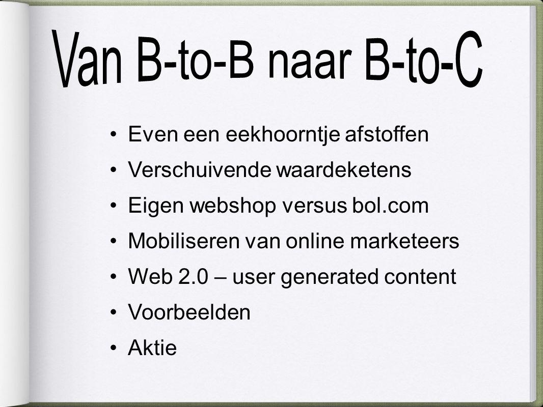 Even een eekhoorntje afstoffen Verschuivende waardeketens Eigen webshop versus bol.com Mobiliseren van online marketeers Web 2.0 – user generated content Voorbeelden Aktie