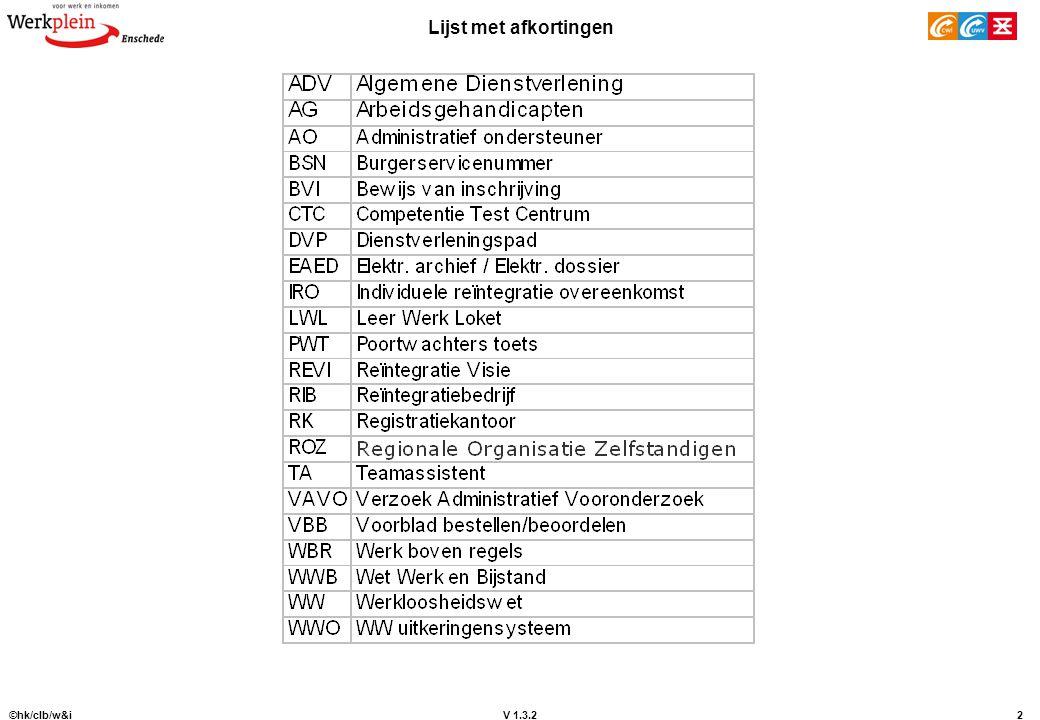 V 1.3.2 ©hk/clb/w&i2 Lijst met afkortingen