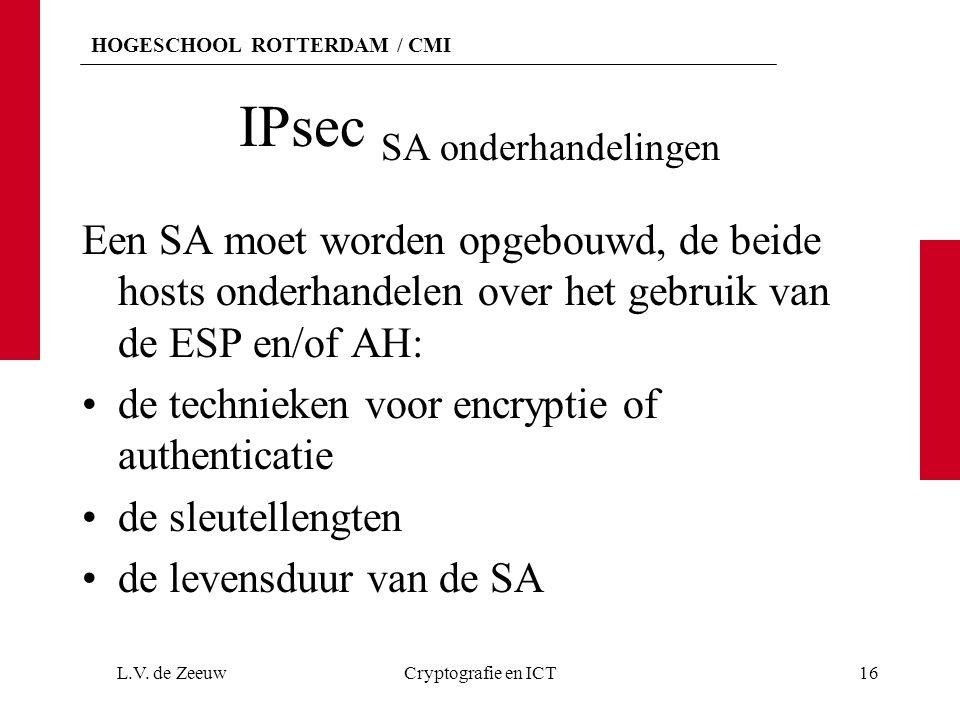 HOGESCHOOL ROTTERDAM / CMI IPsec SA onderhandelingen Een SA moet worden opgebouwd, de beide hosts onderhandelen over het gebruik van de ESP en/of AH: de technieken voor encryptie of authenticatie de sleutellengten de levensduur van de SA L.V.