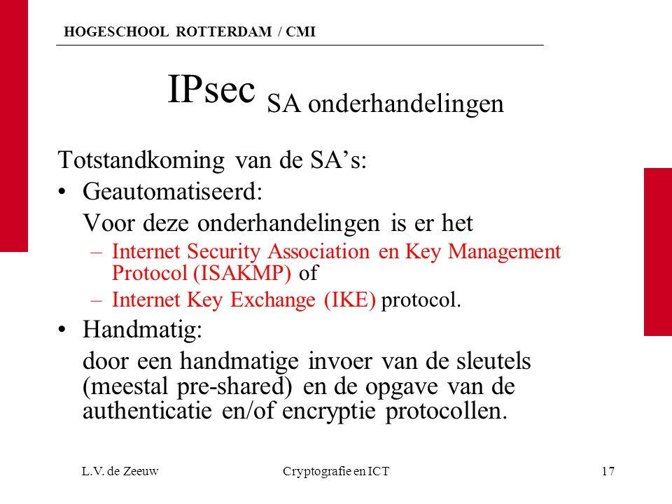 HOGESCHOOL ROTTERDAM / CMI IPsec SA onderhandelingen Totstandkoming van de SA's: Geautomatiseerd: Voor deze onderhandelingen is er het –Internet Secur