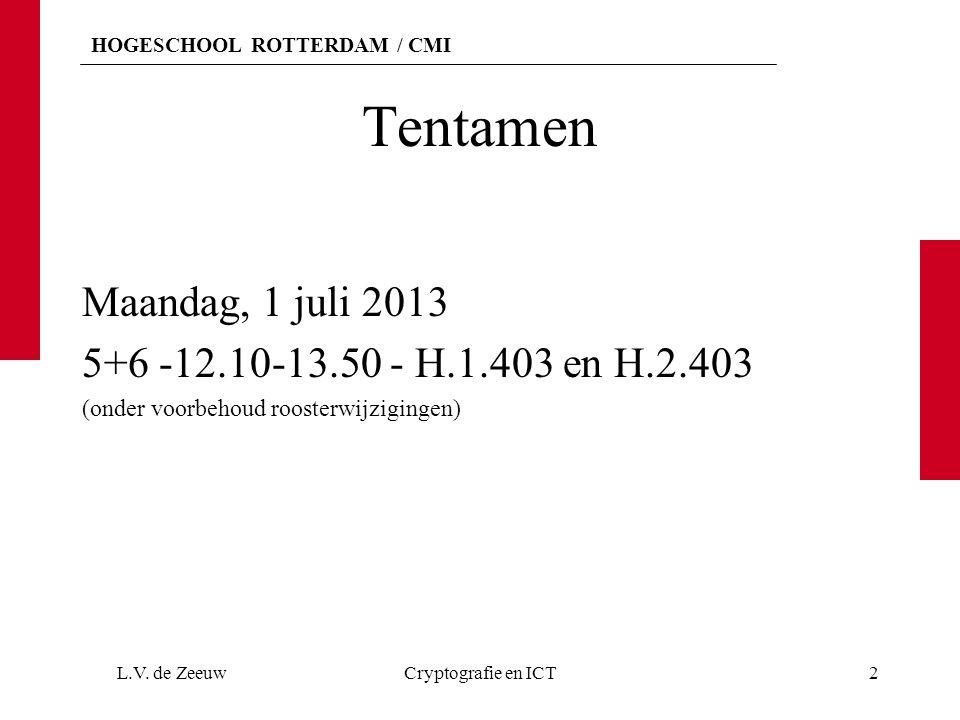HOGESCHOOL ROTTERDAM / CMI Tentamen Maandag, 1 juli 2013 5+6 -12.10-13.50 - H.1.403 en H.2.403 (onder voorbehoud roosterwijzigingen) L.V. de ZeeuwCryp