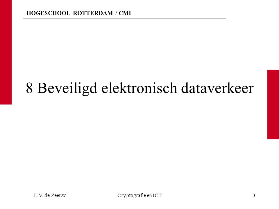 HOGESCHOOL ROTTERDAM / CMI 8 Beveiligd elektronisch dataverkeer L.V. de ZeeuwCryptografie en ICT3