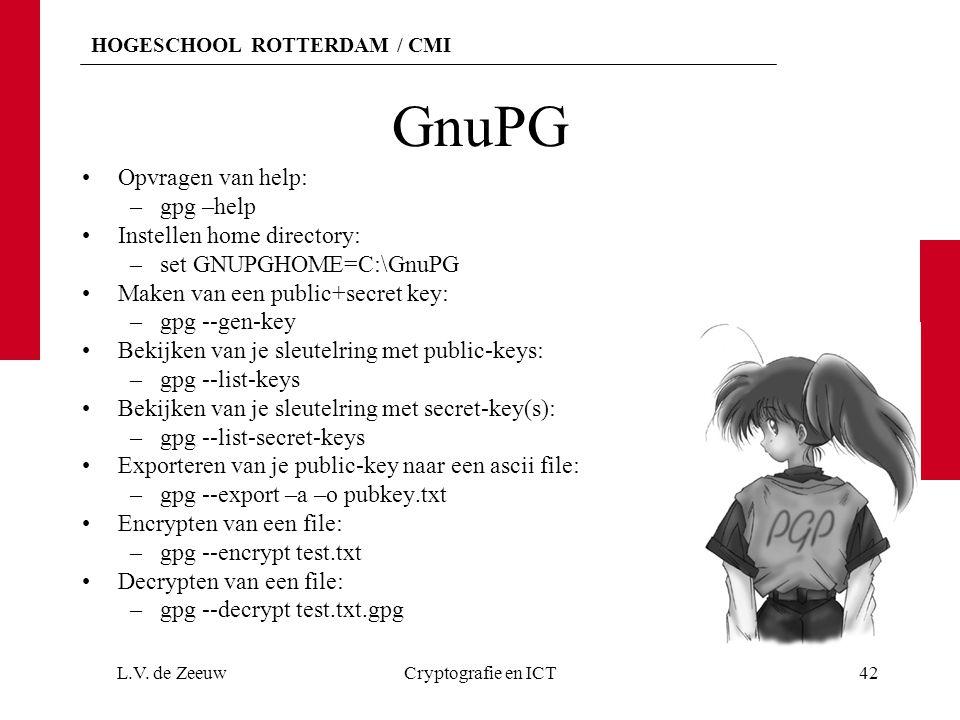 HOGESCHOOL ROTTERDAM / CMI GnuPG Opvragen van help: –gpg –help Instellen home directory: –set GNUPGHOME=C:\GnuPG Maken van een public+secret key: –gpg