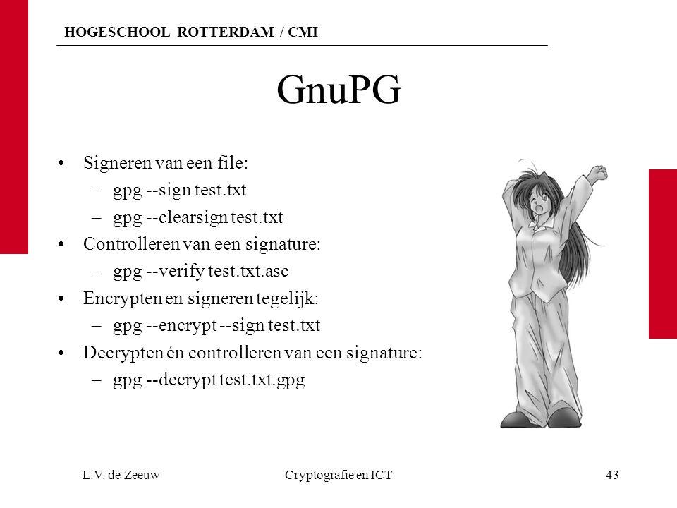 HOGESCHOOL ROTTERDAM / CMI GnuPG Signeren van een file: –gpg --sign test.txt –gpg --clearsign test.txt Controlleren van een signature: –gpg --verify test.txt.asc Encrypten en signeren tegelijk: –gpg --encrypt --sign test.txt Decrypten én controlleren van een signature: –gpg --decrypt test.txt.gpg L.V.