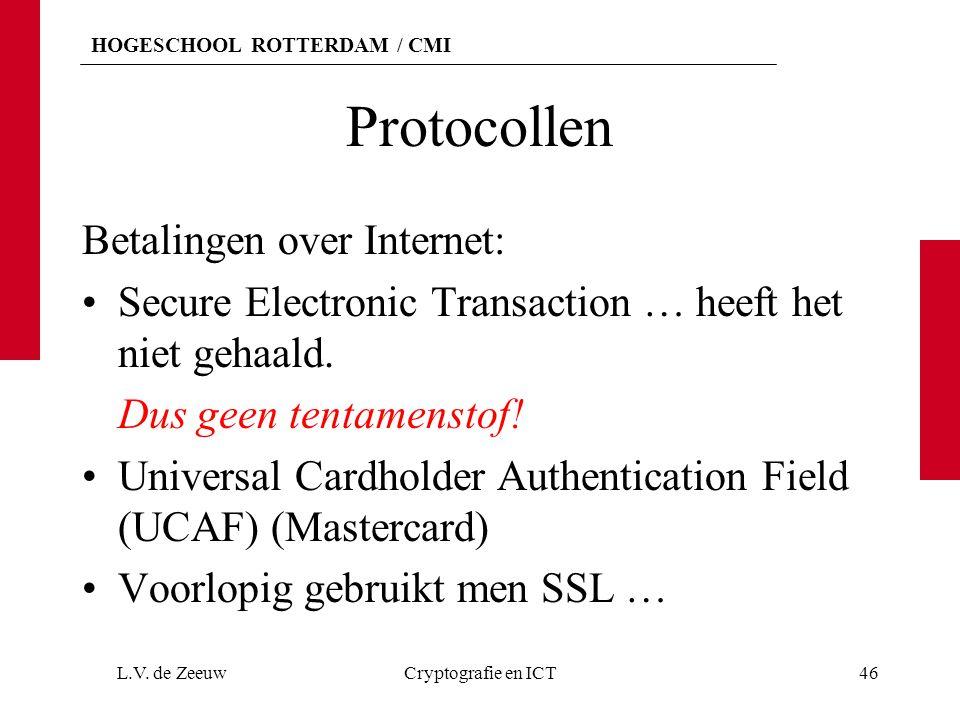 HOGESCHOOL ROTTERDAM / CMI Protocollen Betalingen over Internet: Secure Electronic Transaction … heeft het niet gehaald. Dus geen tentamenstof! Univer