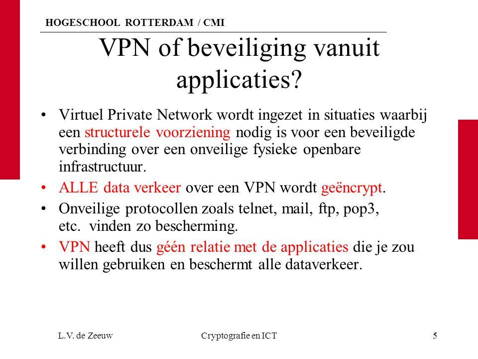 HOGESCHOOL ROTTERDAM / CMI VPN of beveiliging vanuit applicaties? Virtuel Private Network wordt ingezet in situaties waarbij een structurele voorzieni