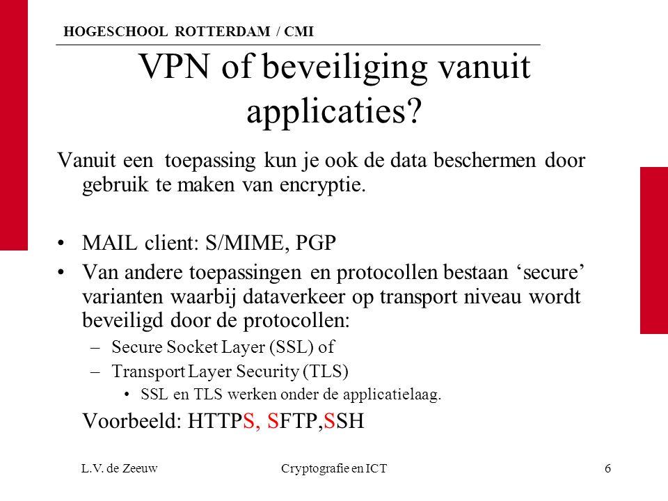 HOGESCHOOL ROTTERDAM / CMI IPsec SA onderhandelingen Totstandkoming van de SA's: Geautomatiseerd: Voor deze onderhandelingen is er het –Internet Security Association en Key Management Protocol (ISAKMP) of –Internet Key Exchange (IKE) protocol.