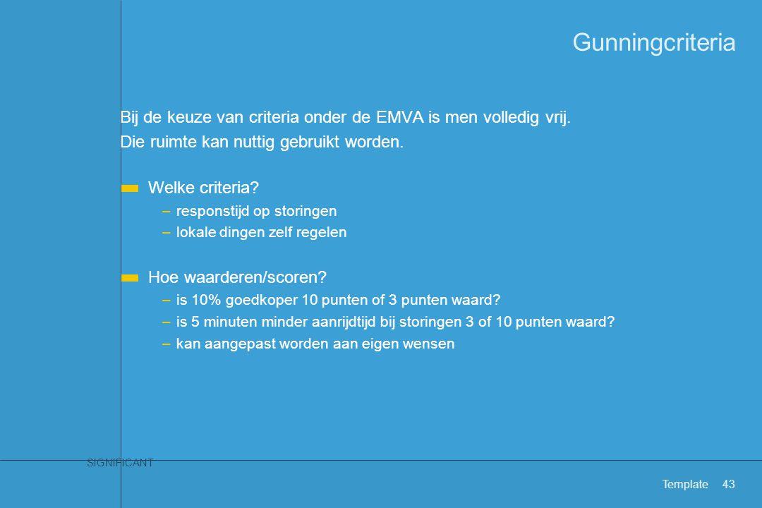 SIGNIFICANT Template43 Gunningcriteria Bij de keuze van criteria onder de EMVA is men volledig vrij. Die ruimte kan nuttig gebruikt worden. Welke crit