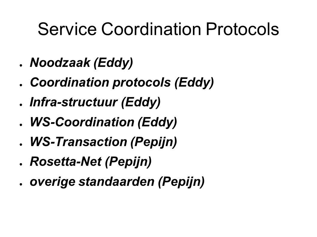 Service Coordination Protocols ● Noodzaak (Eddy) ● Coordination protocols (Eddy) ● Infra-structuur (Eddy) ● WS-Coordination (Eddy) ● WS-Transaction (Pepijn) ● Rosetta-Net (Pepijn) ● overige standaarden (Pepijn)