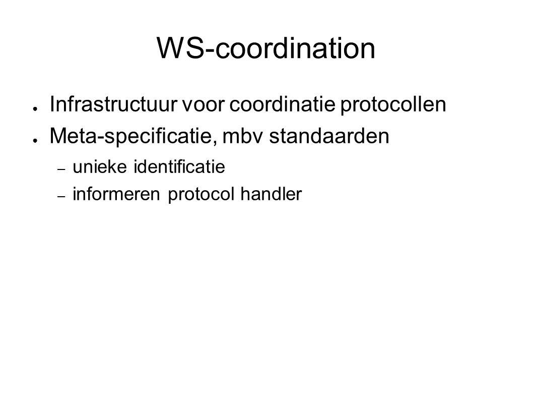 WS-coordination ● Infrastructuur voor coordinatie protocollen ● Meta-specificatie, mbv standaarden – unieke identificatie – informeren protocol handler