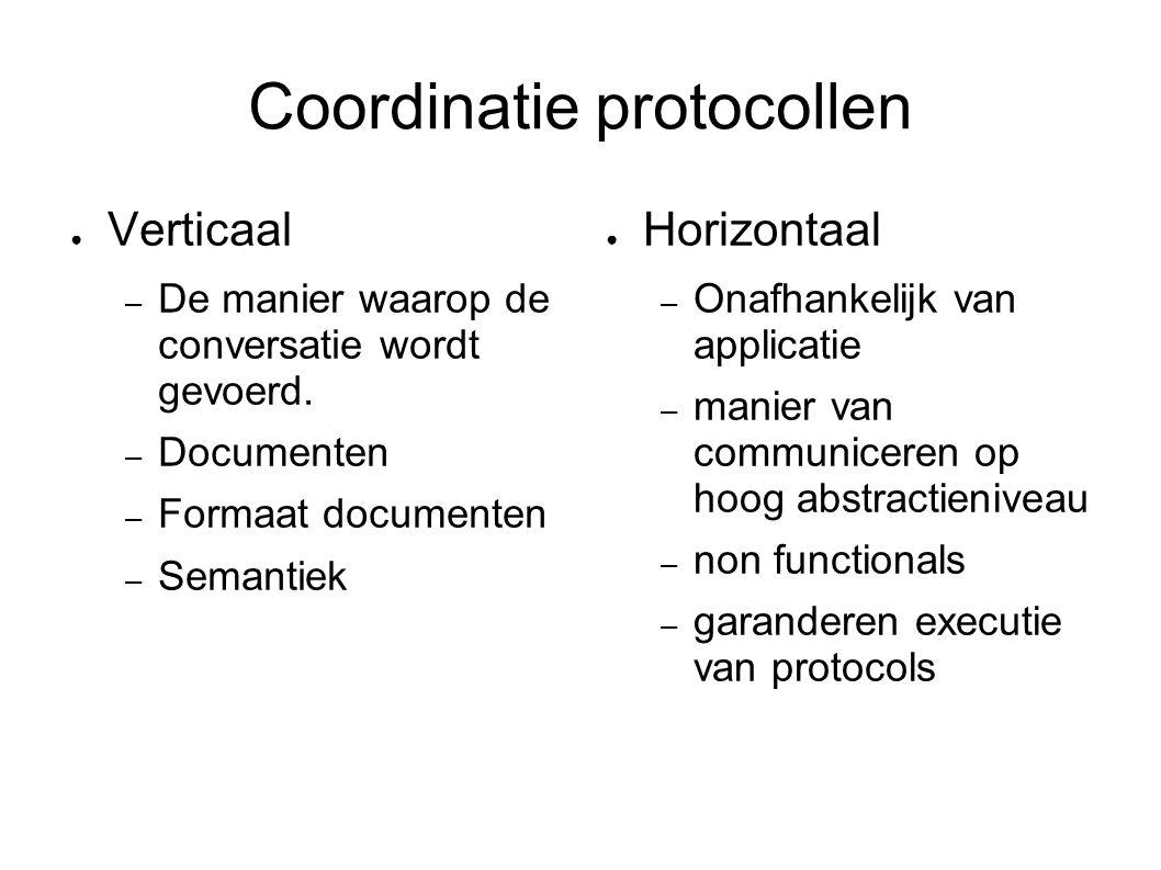 Coordinatie protocollen ● Verticaal – De manier waarop de conversatie wordt gevoerd. – Documenten – Formaat documenten – Semantiek ● Horizontaal – Ona