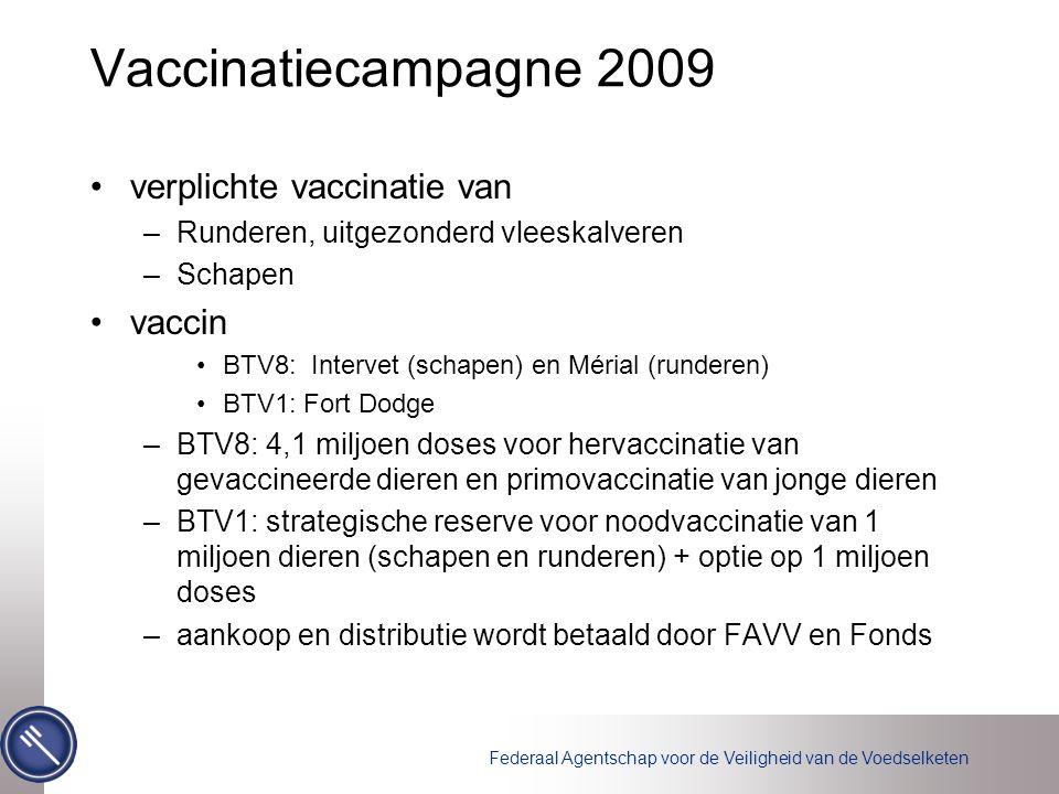 Vaccinatiecampagne 2009 verplichte vaccinatie van –Runderen, uitgezonderd vleeskalveren –Schapen vaccin BTV8: Intervet (schapen) en Mérial (runderen) BTV1: Fort Dodge –BTV8: 4,1 miljoen doses voor hervaccinatie van gevaccineerde dieren en primovaccinatie van jonge dieren –BTV1: strategische reserve voor noodvaccinatie van 1 miljoen dieren (schapen en runderen) + optie op 1 miljoen doses –aankoop en distributie wordt betaald door FAVV en Fonds