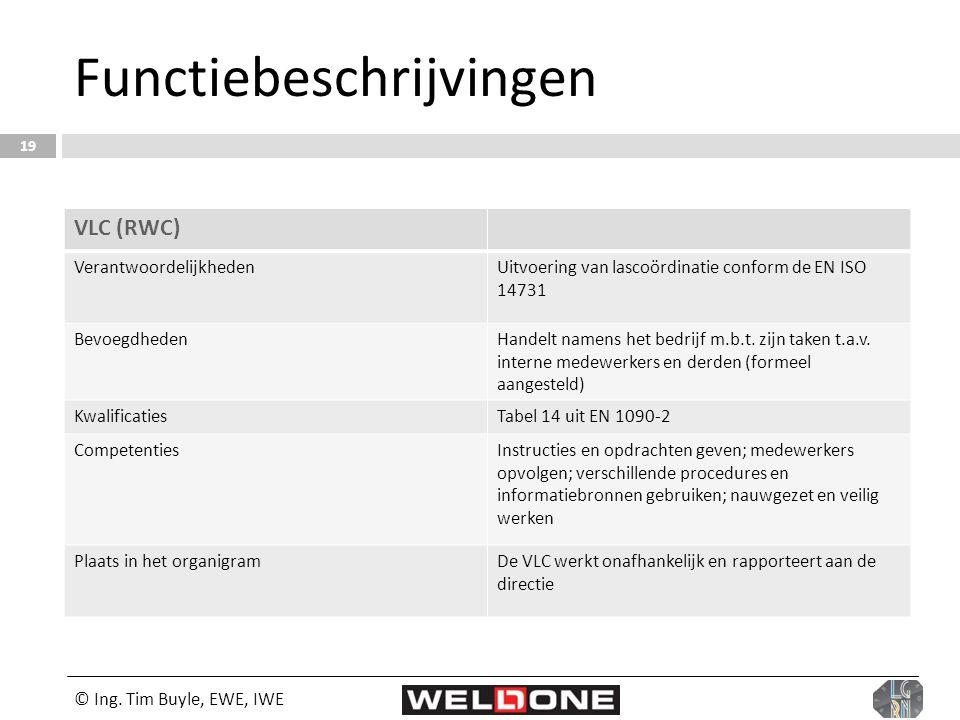 © Ing. Tim Buyle, EWE, IWE 19 Functiebeschrijvingen VLC (RWC) VerantwoordelijkhedenUitvoering van lascoördinatie conform de EN ISO 14731 BevoegdhedenH