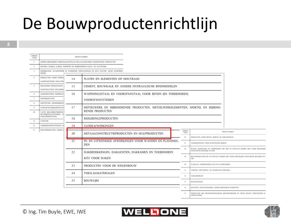 © Ing. Tim Buyle, EWE, IWE 2 De Bouwproductenrichtlijn