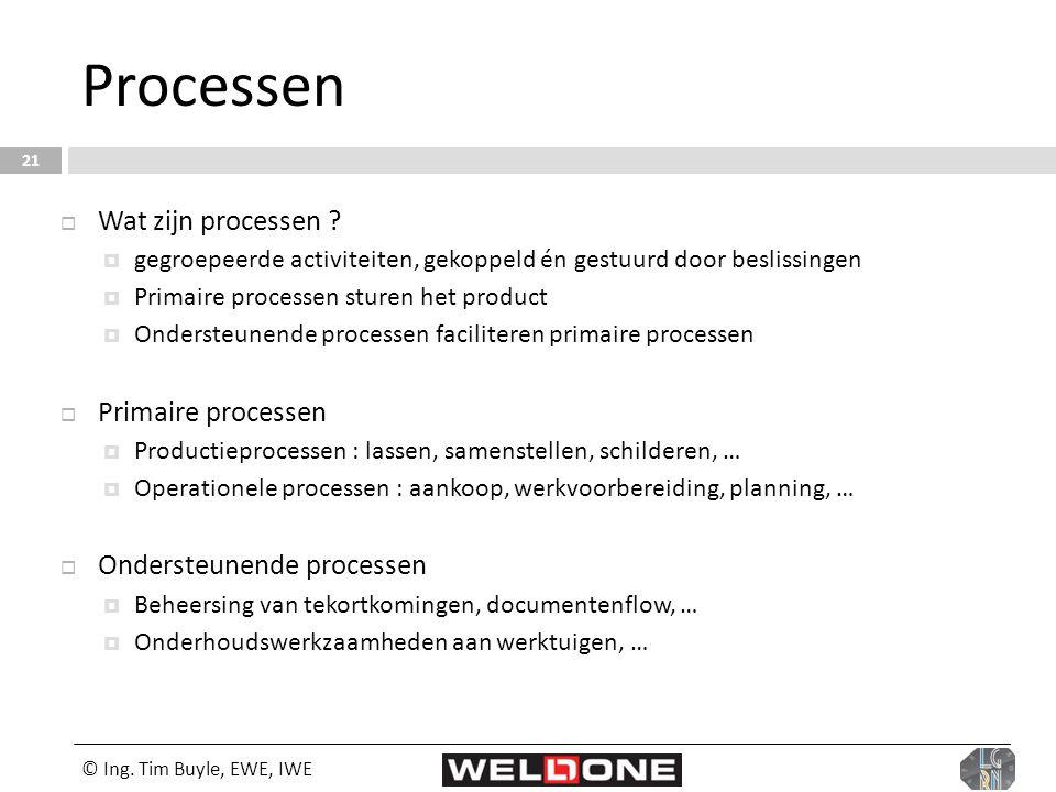 © Ing. Tim Buyle, EWE, IWE 21 Processen  Wat zijn processen ?  gegroepeerde activiteiten, gekoppeld én gestuurd door beslissingen  Primaire process