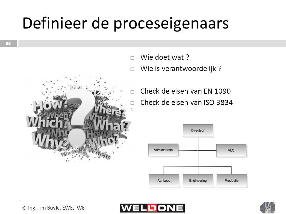 © Ing. Tim Buyle, EWE, IWE 39 Definieer de proceseigenaars  Wie doet wat ?  Wie is verantwoordelijk ?  Check de eisen van EN 1090  Check de eisen
