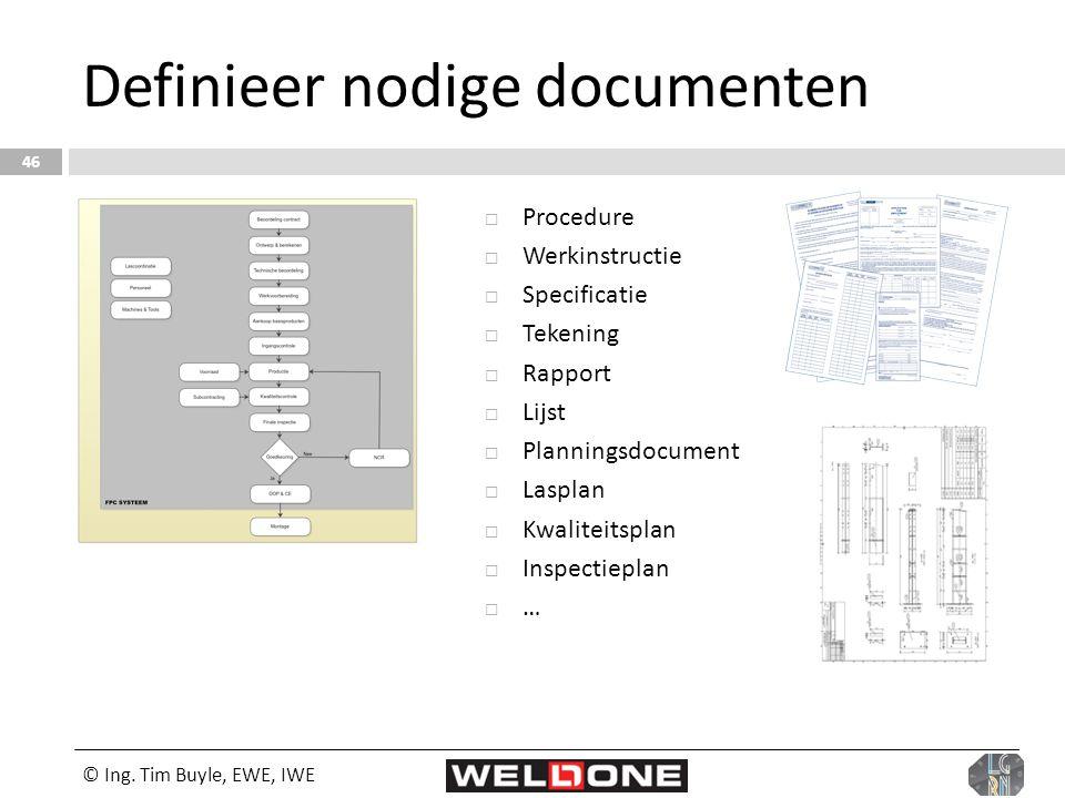 © Ing. Tim Buyle, EWE, IWE 46 Definieer nodige documenten  Procedure  Werkinstructie  Specificatie  Tekening  Rapport  Lijst  Planningsdocument