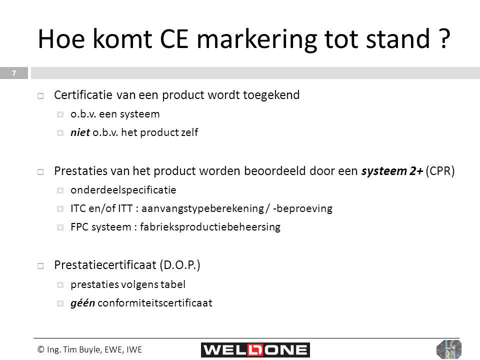 © Ing. Tim Buyle, EWE, IWE 7 Hoe komt CE markering tot stand ?  Certificatie van een product wordt toegekend  o.b.v. een systeem  niet o.b.v. het p