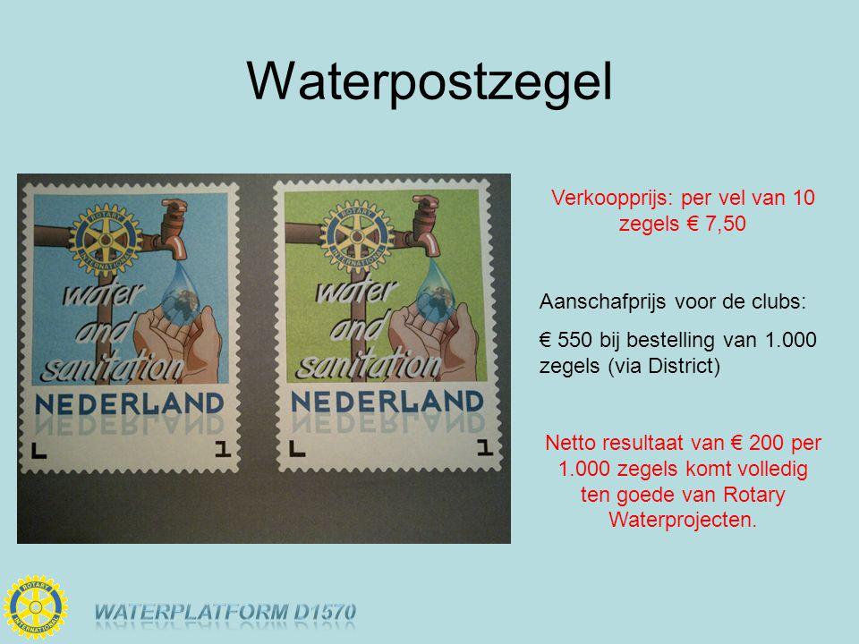Waterpostzegel Verkoopprijs: per vel van 10 zegels € 7,50 Aanschafprijs voor de clubs: € 550 bij bestelling van 1.000 zegels (via District) Netto resultaat van € 200 per 1.000 zegels komt volledig ten goede van Rotary Waterprojecten.