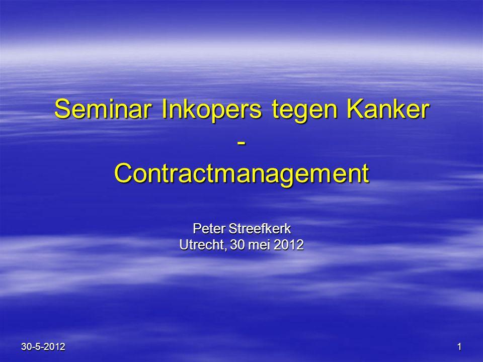 1 Seminar Inkopers tegen Kanker - Contractmanagement Peter Streefkerk Utrecht, 30 mei 2012 30-5-2012