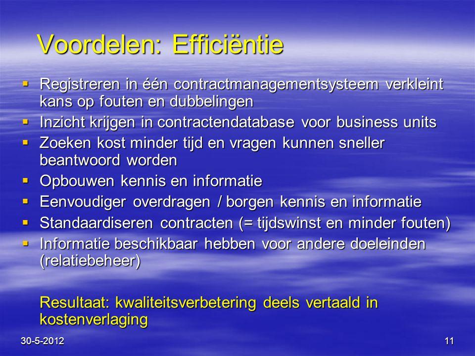 11 Voordelen: Efficiëntie  Registreren in één contractmanagementsysteem verkleint kans op fouten en dubbelingen  Inzicht krijgen in contractendataba