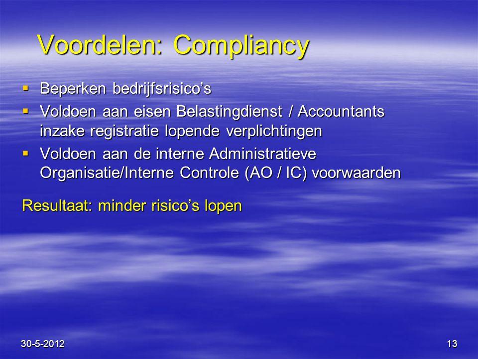 13 Voordelen: Compliancy  Beperken bedrijfsrisico's  Voldoen aan eisen Belastingdienst / Accountants inzake registratie lopende verplichtingen  Vol