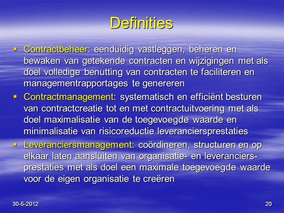 Definities  Contractbeheer: eenduidig vastleggen, beheren en bewaken van getekende contracten en wijzigingen met als doel volledige benutting van con