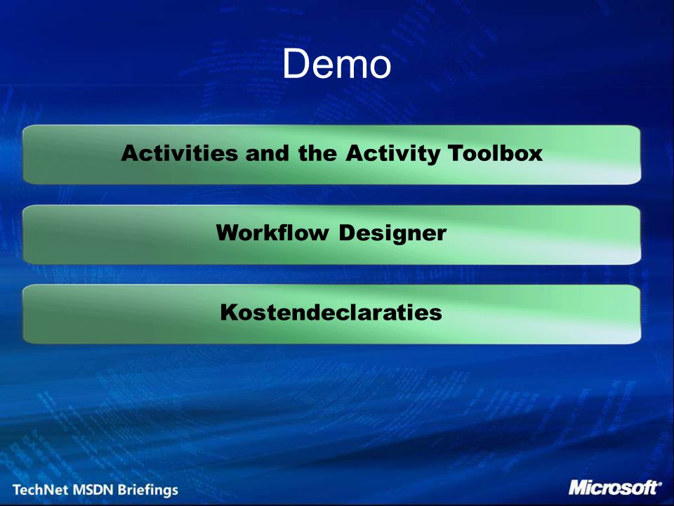 Kostendeclaraties Demo Activities and the Activity ToolboxWorkflow Designer