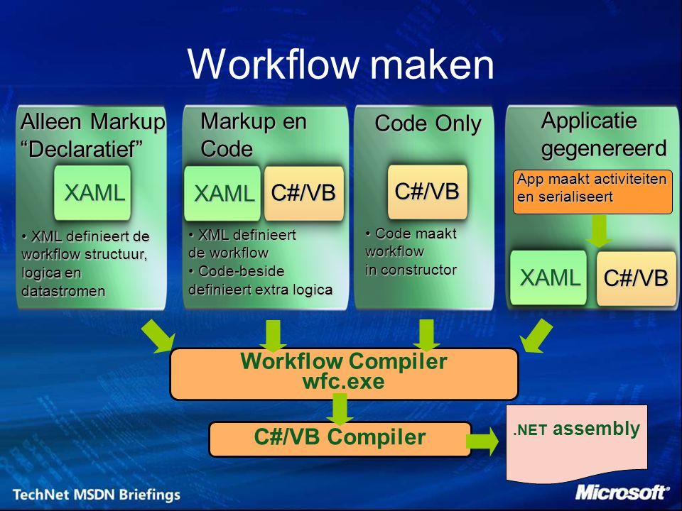 .NET assembly Alleen Markup Declaratief XAML Markup en Code C#/VB Code Only Applicatiegegenereerd XAML C#/VB XML definieert de workflow structuur, logica en datastromen XML definieert de workflow structuur, logica en datastromen XML definieert XML definieert de workflow Code-beside Code-beside definieert extra logica Code maakt Code maaktworkflow in constructor XAML C#/VB App maakt activiteiten en serialiseert Workflow Compiler wfc.exe C#/VB Compiler Workflow maken