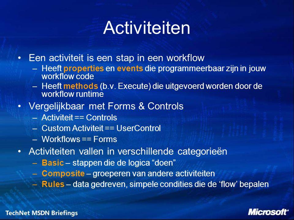 Activiteiten Een activiteit is een stap in een workflow –Heeft properties en events die programmeerbaar zijn in jouw workflow code –Heeft methods (b.v.