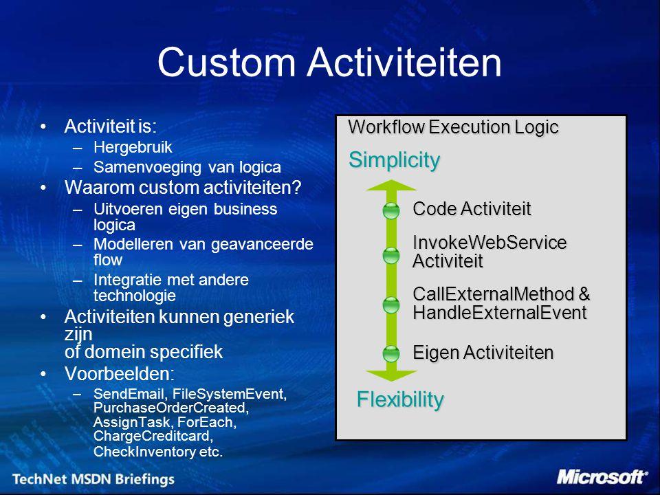 Custom Activiteiten Activiteit is: –Hergebruik –Samenvoeging van logica Waarom custom activiteiten.