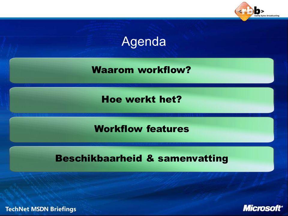 using System.Workflow.Activities; public partial class Workflow1 : SequentialWorkflowActivity { public Workflow1() { InitializeComponent(); } public sealed partial class Workflow1 : SequentialWorkflowActivity { private DelayActivity delay1; private void InitializeComponent() { this.delay1 = new System.Workflow.Activities.DelayActivity(); this.delay1.Name = delay1 ; this.delay1.TimeoutDuration = System.TimeSpan.Parse( 00:00:05 ); this.Activities.Add(this.delay1); this.Name = Workflow1 ; } Workflow Basics De Workflow constructor configureert de activiteiten die deze bevat (vergelijkbaar met Winforms & controls)